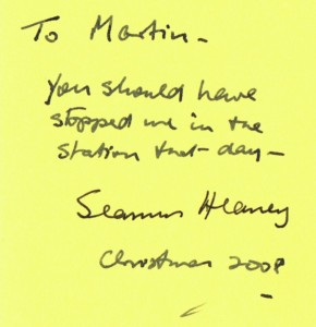 Seamus Heaney inscription